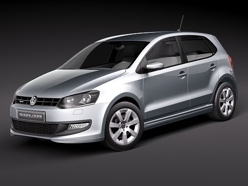 volkswagen polo 2010 blue 3d model. Black Bedroom Furniture Sets. Home Design Ideas