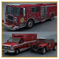 3 fire department vehicles