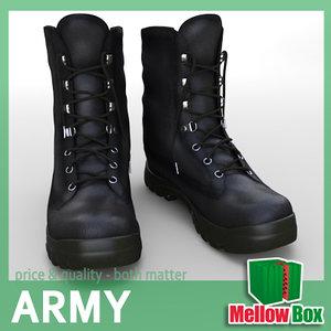 military boots shoe 3d model