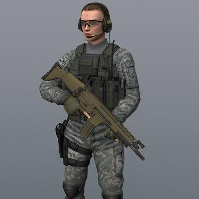 combat rifle 3d model