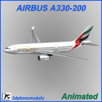airbus a330-200 aircraft landing 3d model