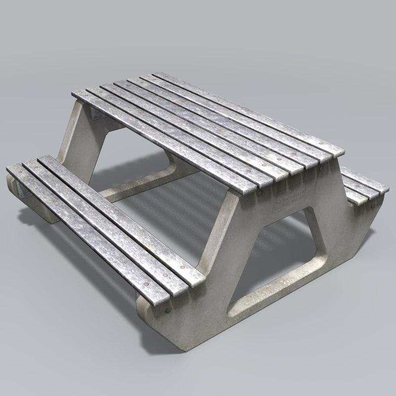 park picnic bench 3d model