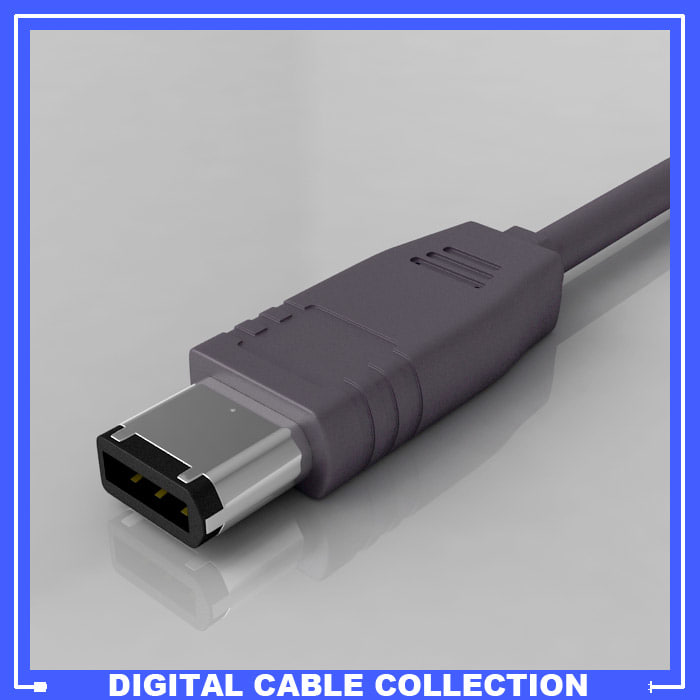 firewire ieee 1394 connector 3d model
