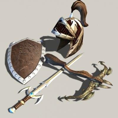 pack fantasy sword crossbow 3d model