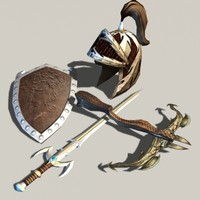 pack fantasy sword crossbow 3d model