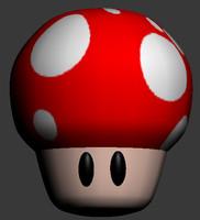 free mushroom mario 3d model