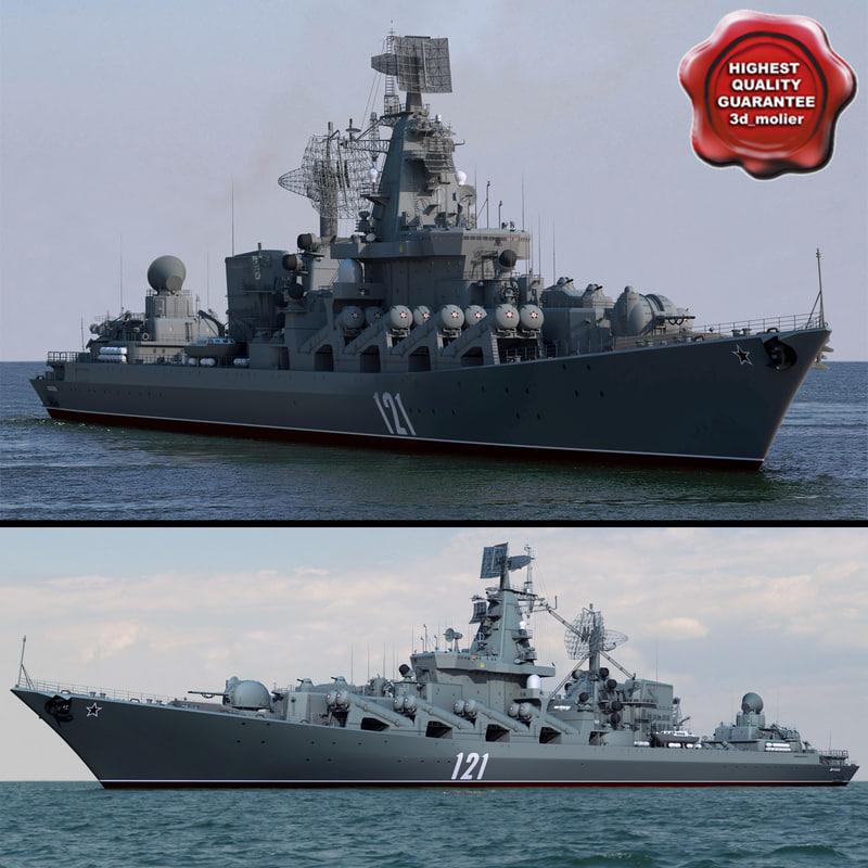 missile cruiser moskva warship 3d model