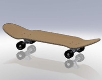 old school pool skateboard 3d model