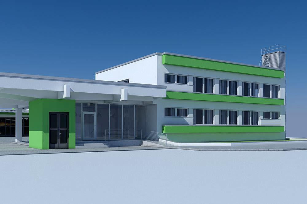 3d business warehouse house model