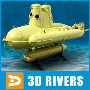 bathyscaphe submarine cousteau 3d model