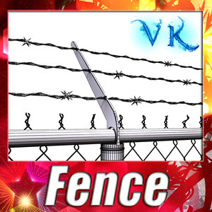 chainlink fence barbed wire 3d model