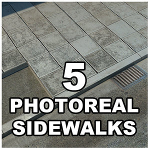 sidewalks tileable 3d model
