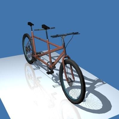 tandem bicycle 3d model