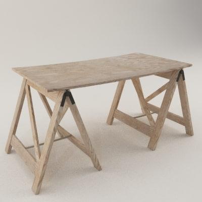 workshop table 3d model