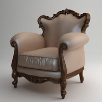 qualitative victorian armchair 3d model