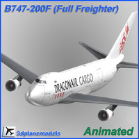 b747-200 aircraft animation cargo 3d model