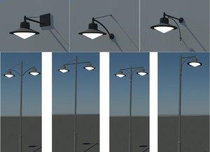 pole wall urban lighting 3d model