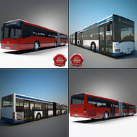articulated buses bus 3d model