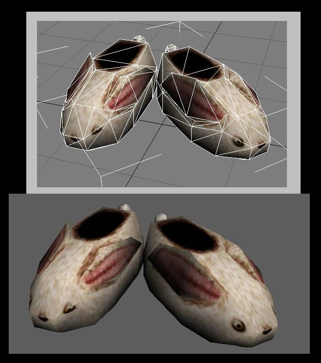 cute bunny slippers 3d model