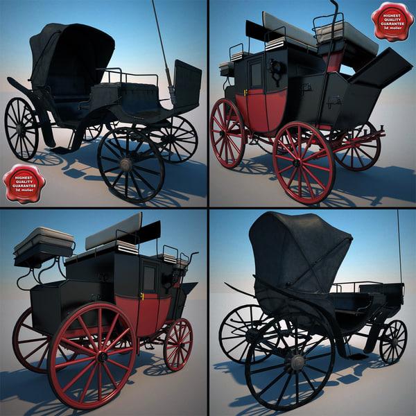 carriages set modelled 3d model