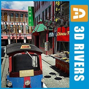 china town block streets 3d model