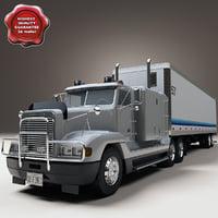 freightliner fld120 special trailer 3d model