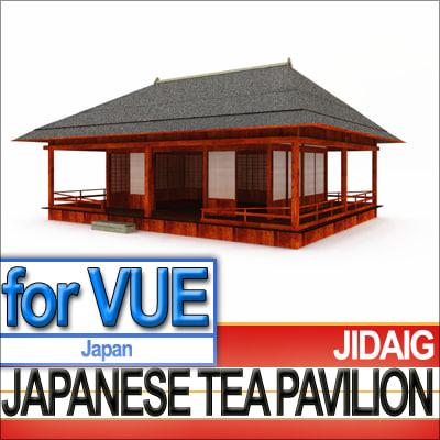 kikugetsu-tei pavilion edo era 3d model