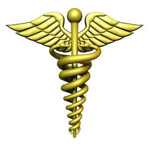 medical symbol caduceus snakes 3d model