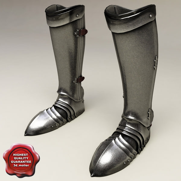 medieval armour boots 3d model