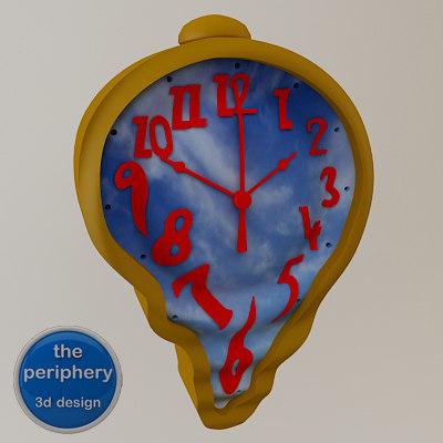 melting wall clock 3d model