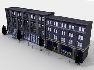 neighborhood buildings 3d model