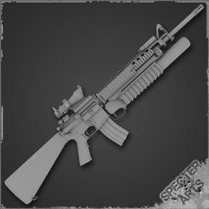 m16a4 m203 grenade launcher 3d model