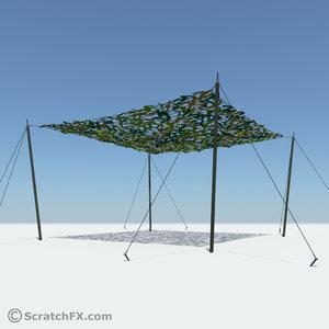 camo net sun shade 3d model