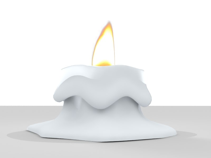 melted candle flame 3d model