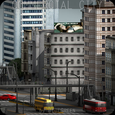 commercial city buildings 3d model