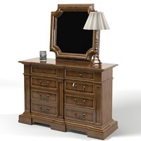 drexel classic chest of drawers mirror table  lamp traditional country