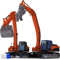 excavator demolition materials 3d model