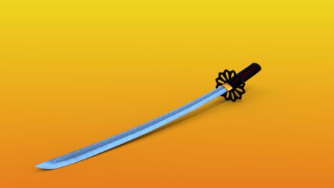 japanese samurai sword 3d model