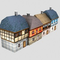 free medieval buildings street houses 3d model