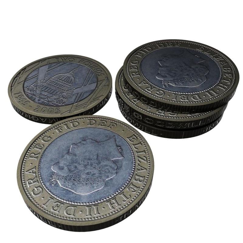 british 2 pounds 2005 3d model