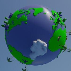 stylized earth 3d model