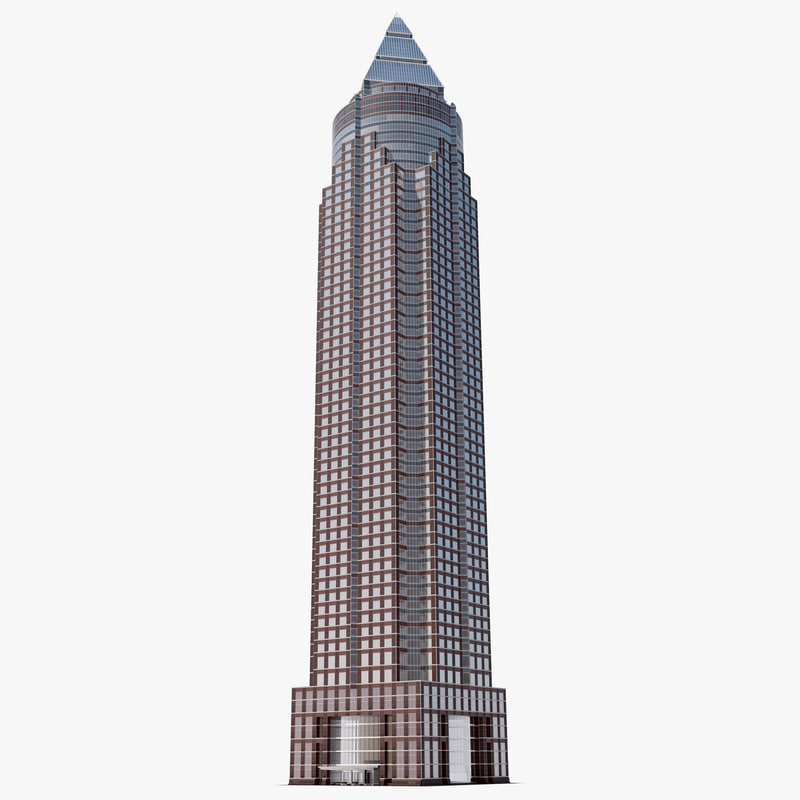 3d messeturm skyscraper frankfurt germany model