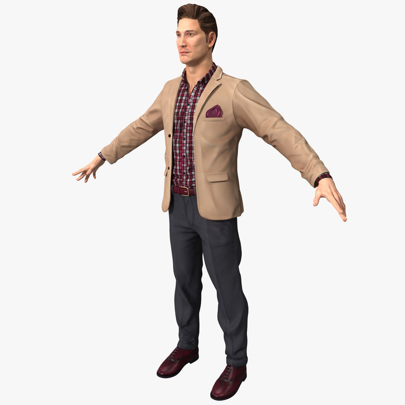 man work casual clothes 3d model