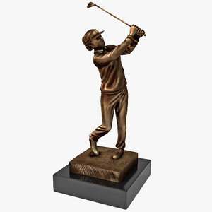female golfer trophy 3d max