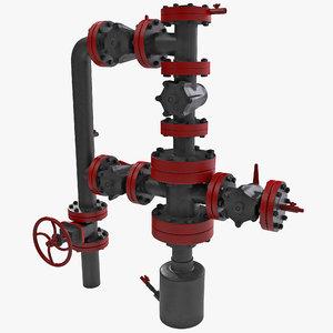 3d model oil wellhead valve