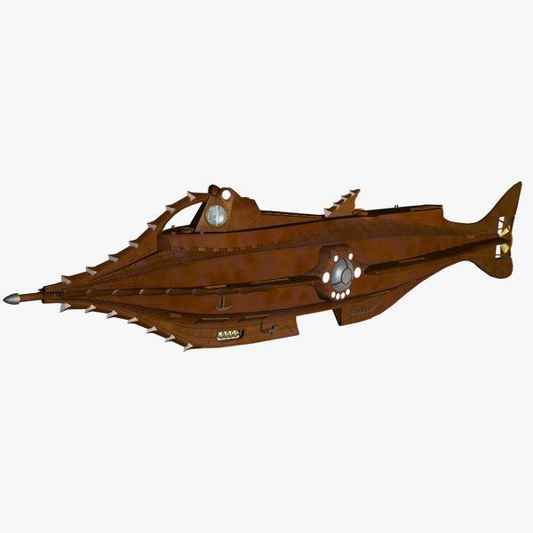 submarine jules vern 3d max