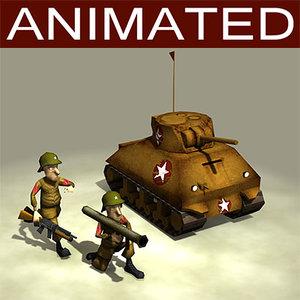 characters tank animation cartoon 3d model