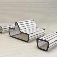 sun deck bench flora 3d model