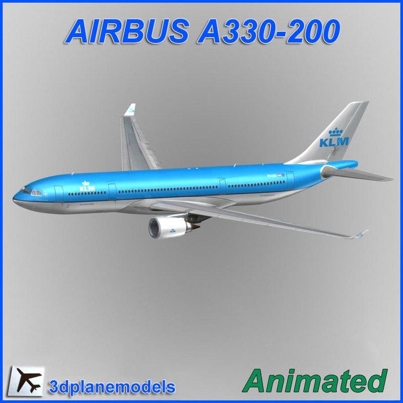 airbus a330-200 aircraft landing 3d model