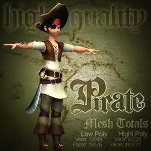 3ds max cartoon pirate